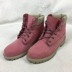 Pink Timberland Leather Lace Up Ankle Boots